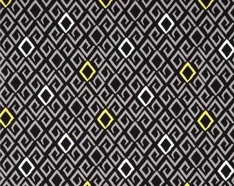 Diamond Pattern Fabric - Aziza Citron and Gray - Michael Miller - Fabric by the Half Yard