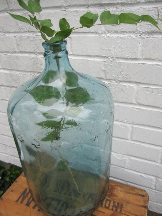 Vintage Carboy Jug Blue Glass 5 Gallon Embossed Trees On