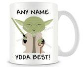 Dad yoda best Mug Any name yoda best star wars mug yoda mug personalised mug Birthday Mug funny yoda mug novelty mug gifts mug travel mug