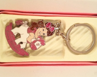 12 Pieces Baby Shower Pink or Blue Baby Boy or Girl Pony Key Chain Favor Gift