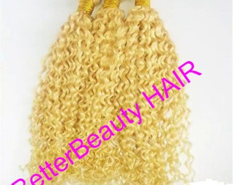 blonde thick rich hair  Brazilian Virgin Human Hair curly Wave human hair Extension human hair weaving hair weft FREE SHIPPING