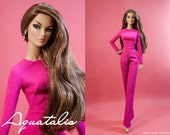 Pinkalicious 02 - Jumpsuit and Faux Fur Scarf for 12'' Fashion Royalty dolls & other same size dolls.