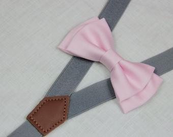 Light  pink bowties,BOWTIE SUSPENDER SET,gray/mid grey suspenders,infant bowties,toddler bowtie,boy bowtie,men bowties,wedding bowtie