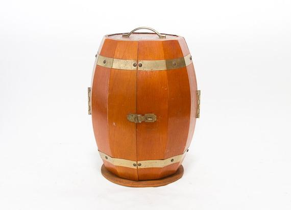 Whiskey Barrel Liquor Cabinet Vintage Mid Century Liquor Case