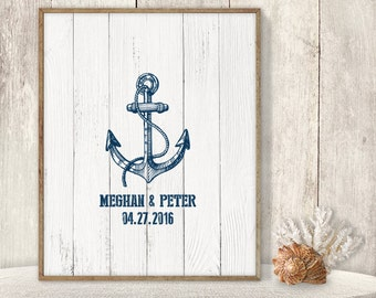 Wedding Guest Book Alternative Poster / Nautical Sign, Navy Anchor / Nautical Planks ▷ Printable File {or} Printed & Shipped