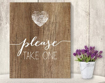 Please Take One // Summer Wedding Favor Sign DIY // Rustic Wood Sign, White Calligraphy Printable PDF Poster ▷ Instant Download