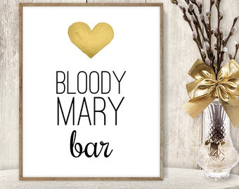 Bloody Mary Bar // Watercolor Wedding Bar Sign DIY // Gold Heart, Watercolor Heart Sign, Printable PDF Poster ▷ Instant Download