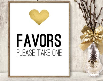 Wedding Favors Sign / Please Take One // Wedding Sign DIY // Gold Heart, Watercolor Heart Sign, Printable PDF Poster ▷ Instant Download