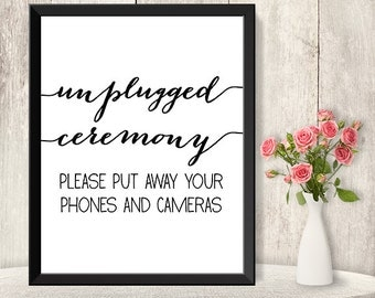 Unplugged Ceremony Sign / Unplugged Wedding / Wedding Ceremony Poster DIY / Trendy Calligraphy Sign / Printable PDF Poster ▷Instant Download