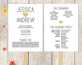 Wedding Program Fan DIY / Wedding Fan / Gold Watercolor Heart / Summer, Destination Wedding ▷ Printable {or} Printed *** ASSEMBLY REQUIRED