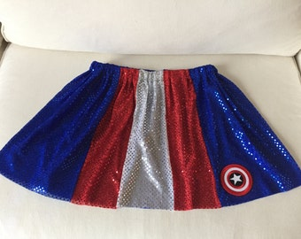 Captain USA Superhero Sparkle red/white/blue Running/Athletic Skirt Patriotic