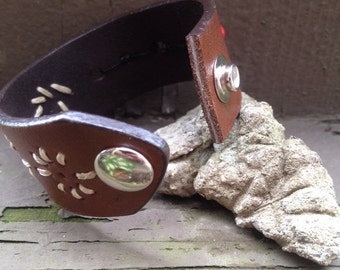 Genuine leather and bead up-cycled cuff bracelet