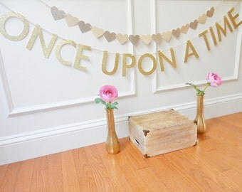 Once Upon A Time Banner - Wedding Banner - Fairytale Banner - Shower Decor - Bridal Shower - Baby Shower