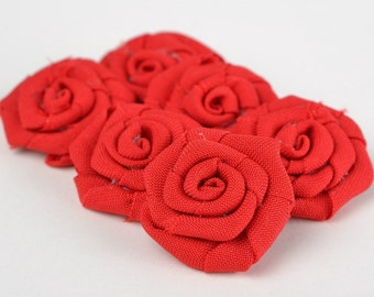 Red fabric roses DIY bridal bouquet Red wedding Fabric roses Rolled flowers Farmhouse flowers Red rosettes Appliqué flower DIY accessories