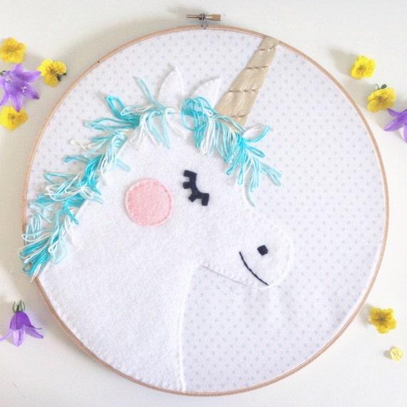 Unicorn embroidery hoop art felt wall decoration