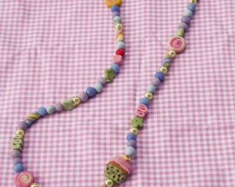 Fancy bon-bon cold porcelaine-made necklace