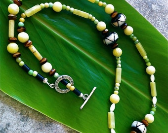 Chartreuse Jade and Brown Quartz Necklace