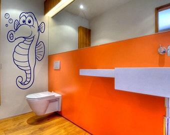 Wall Vinyl Sticker Decals Mural Room Design Pattern Seahorse Cartoon Bathroom bo1574