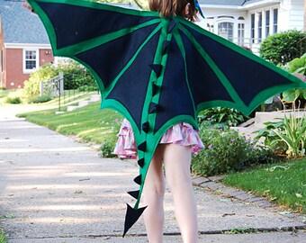 Handmade felt dragon wings and mask set, child