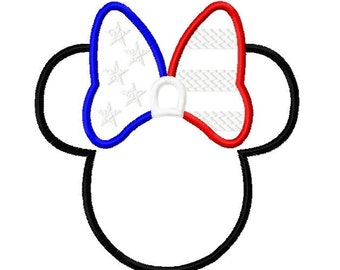 Patriotic Star Spangled Character with Bow Design Embroidery Applique Design