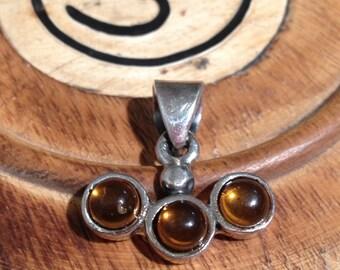 Amber Pendant-Sterling Silver Pendant-Handmade Vintage Pendant-Ethnic-Hippy-Gypsy-LV91