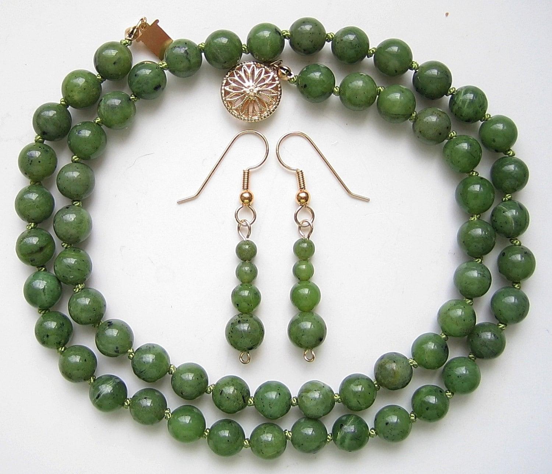 Genuine Jade Beads: Genuine Green Jade Bead Set Necklace & Earrings Natural