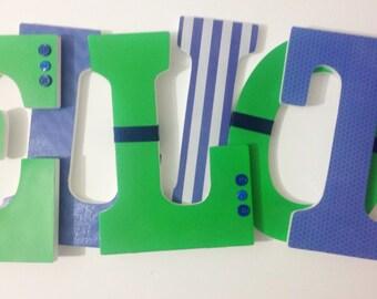 Custom Wall Hanging Nursery Letters, Boy Nursery Decor, Wood Nursery Letters