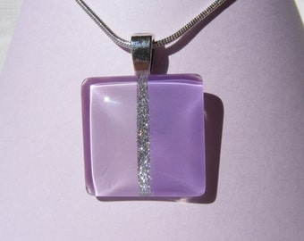 Square Glass Cabochon necklace on Silver Plated Snake Chain