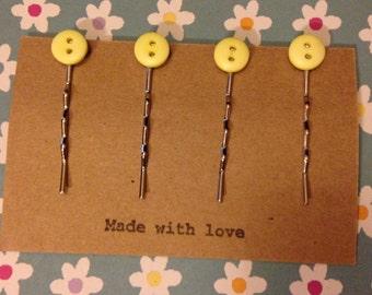 Small Button Hair Pins