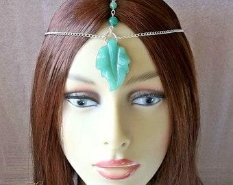 Green Leaf Elven Headpiece, Pagan Headdress, Woodland Fairy Circlet, Nature Spirit, Elf, Elfin, Wiccan Headpiece, Green Aventurine, Festival