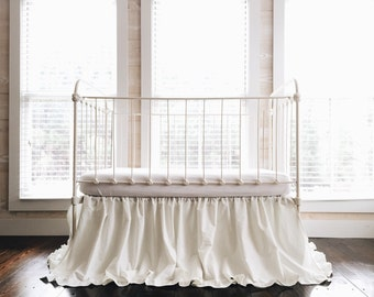 Cinderella Ruffled Washed Cotton Crib Skirt in Porcelain