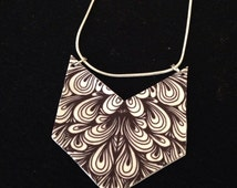 zentangle necklace, monochrome jewellery, gift under 5, gift for girls, stocking fillers, christmas gift, colleagues gift