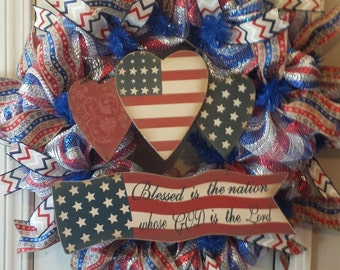 Patriotic burlap wreath for the 4th of July, Memorial Day and Veteran's Day