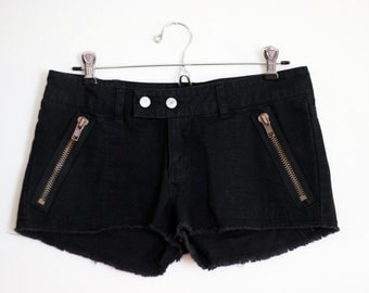 Midnight Rider: Black Denim Cut Offs Bold Bronzed Zippers Shag Shorts