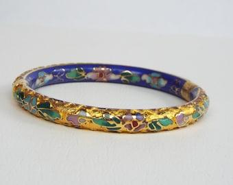 Vintage Chinese Cloisonne Enameled Flower Bracelet with Gold Gilt