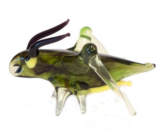 Glass Grasshopper Blown Collectible Figurine (code 041)