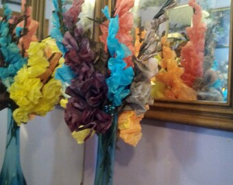 Coffee Filter Gladiolus Tall Paper Flowers