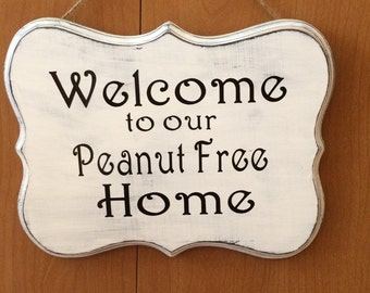 Food allergy welcome sign