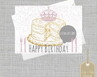Funny Birthday Cake Card,Birthday Cake Card,Happy Birthday,Funny Birthday,Marie Antoinette,Gold Card,Birthday For Her,Friend Birthday
