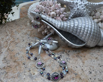 Purple, Clear and Silver Rhinestone Necklace, Bracelet and Ring Set