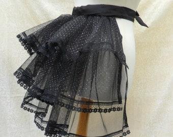 Black glittery burlesque net bustle trimmed in lace