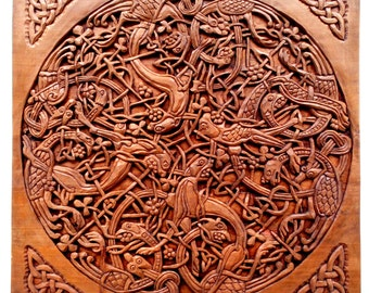 Celtic Wood carving, Handmade Woodcarving, Plate 14 from The Book of Kells, 15,7 x 15,7 in