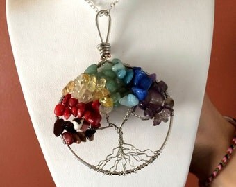 Tree of Life Chakra Necklace 2 in by 3 in