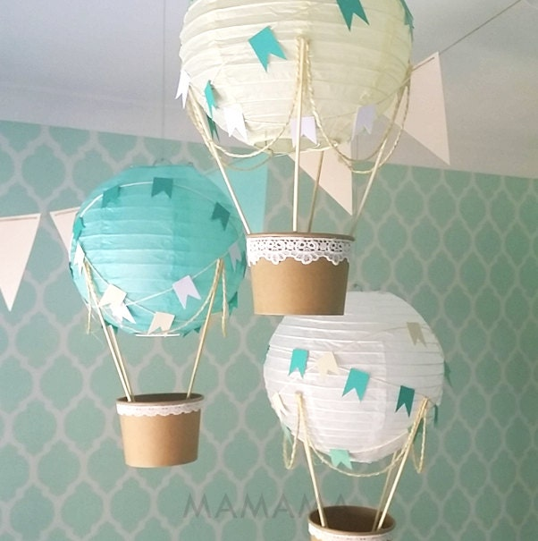 Whimsical hot air balloon decoration diy kit mint nursery for Balloon decoration kits