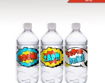 INSTANT DOWNLOAD - SuperHero Birthday Water bottle lable - Super Water - Super Hero - Baby Shower