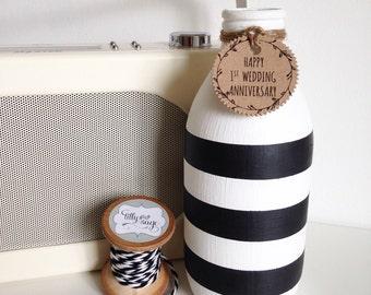 Personalised hand painted milk bottle