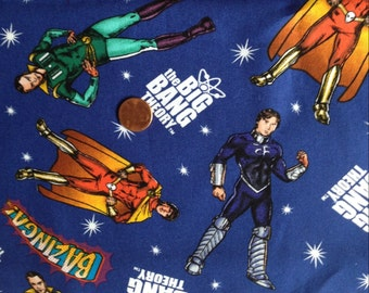 Big Bang THEORY Print, Sheldon and Friends ~ 100% Cotton Fabric Fat Quarter for Quilting & Crafts