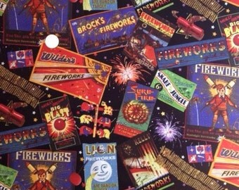 FIREWORKS, Fourth /4th of July 100% Cotton Fabric Fat Quarter / FQ for Quilting & Crafts -  on Black Background