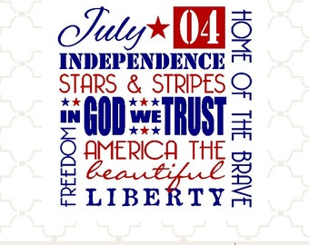SVG Independence Day 4th of July word collage / digital design PNG EPS