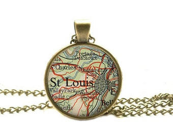St. Louis, Missouri map pendant, St. Louis map pendant, St. Louis map jewelry